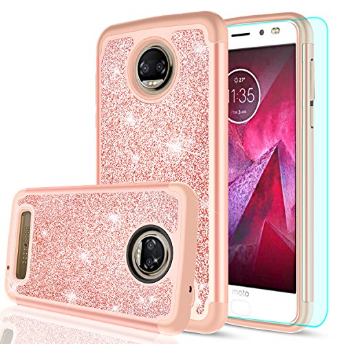 Moto Z2 Force Case with HD Screen Protector for Girls Women,LeYi Luxury Glitter Bling Cute Design [PC Silicone Leather] Dual Layer Protective Phone Case for Motorola Z2 Force Droid(2017) TP Rose Gold (Motorola Phone For Cases Girls)