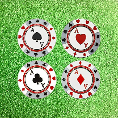 PINMEI Metal Magnetic Golf Poker Chip Golf Ball Markers Golf Gift for Men Kids Set of 4 (Poker)
