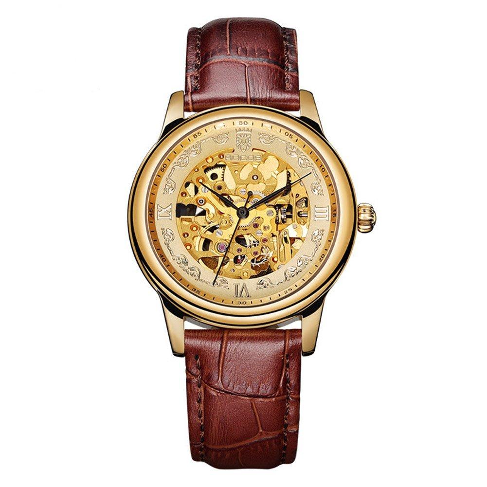 Rocos自動機械メンズ腕時計防水スケルトンレザーラグジュアリービジネスファッションカジュアルシンプルクラシックBest Watches Gift for Lover ブラウン B07C74WLL8 ブラウン ブラウン