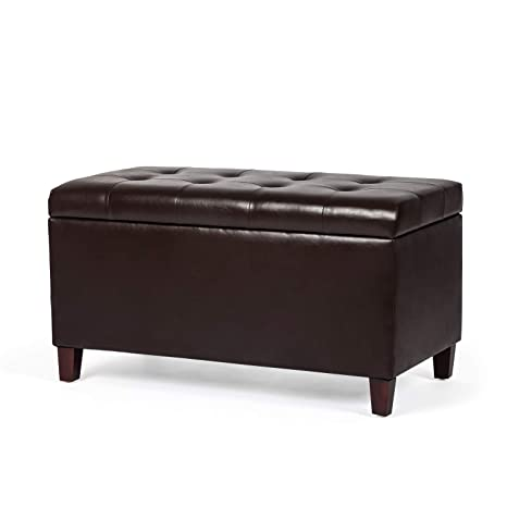 Stupendous Joveco Storage Ottoman Rectangular Faux Leather Bench For Entryway Bedroom Dark Chocolate Machost Co Dining Chair Design Ideas Machostcouk