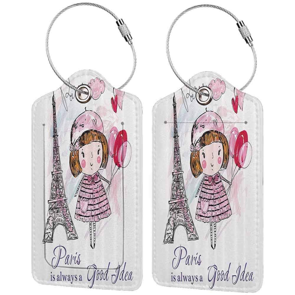 Personalized luggage tag Paris Little Girl Holding Balloons Hearts a Cloud and Eiffel Tower Illustration Easy to carry Pale Pink Purple White W2.7 x L4.6
