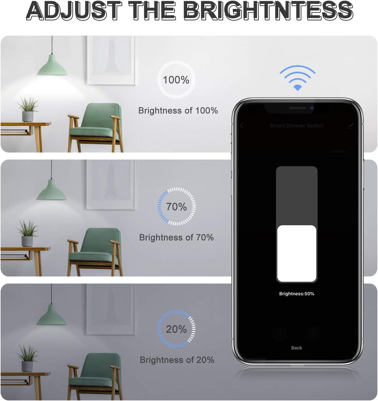 Alexa Interruptor Regulador de luz WiFi WiFi Interruptor de luz de Atenuador con Temporizador Etersky Dimmer Inteligente de Pared Compatible con Alexa//Google Home//Smart Life