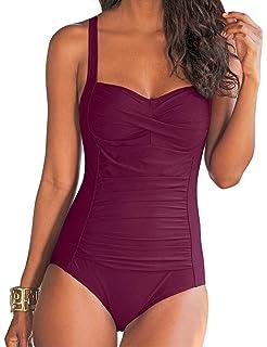 5598c47e1e5 LALAVAVA Women's One Piece Swimsuit Plus Size Shirred Tummy Control ...