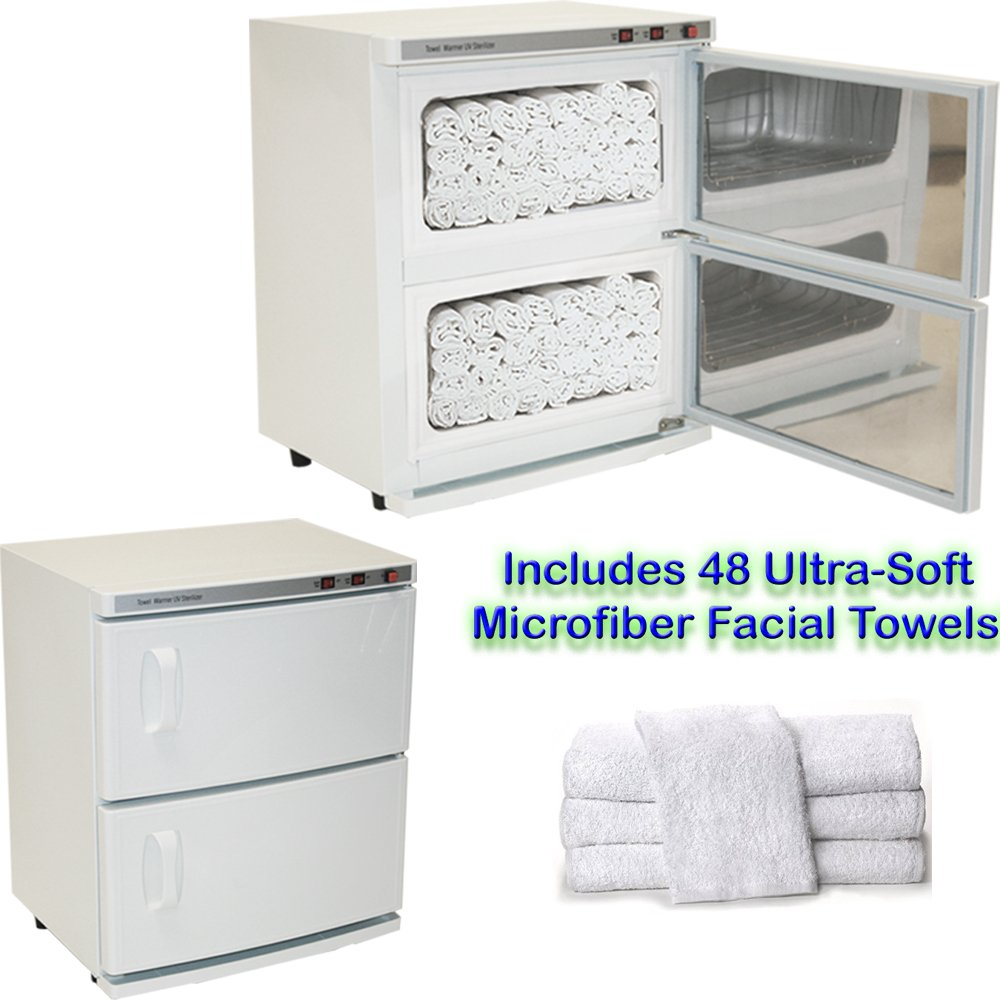 High Capacity Double-Decker Hot Towel Cabinet & Ultraviolet Sterilizer 48 Towels Included Salon Spa Beauty Equipment