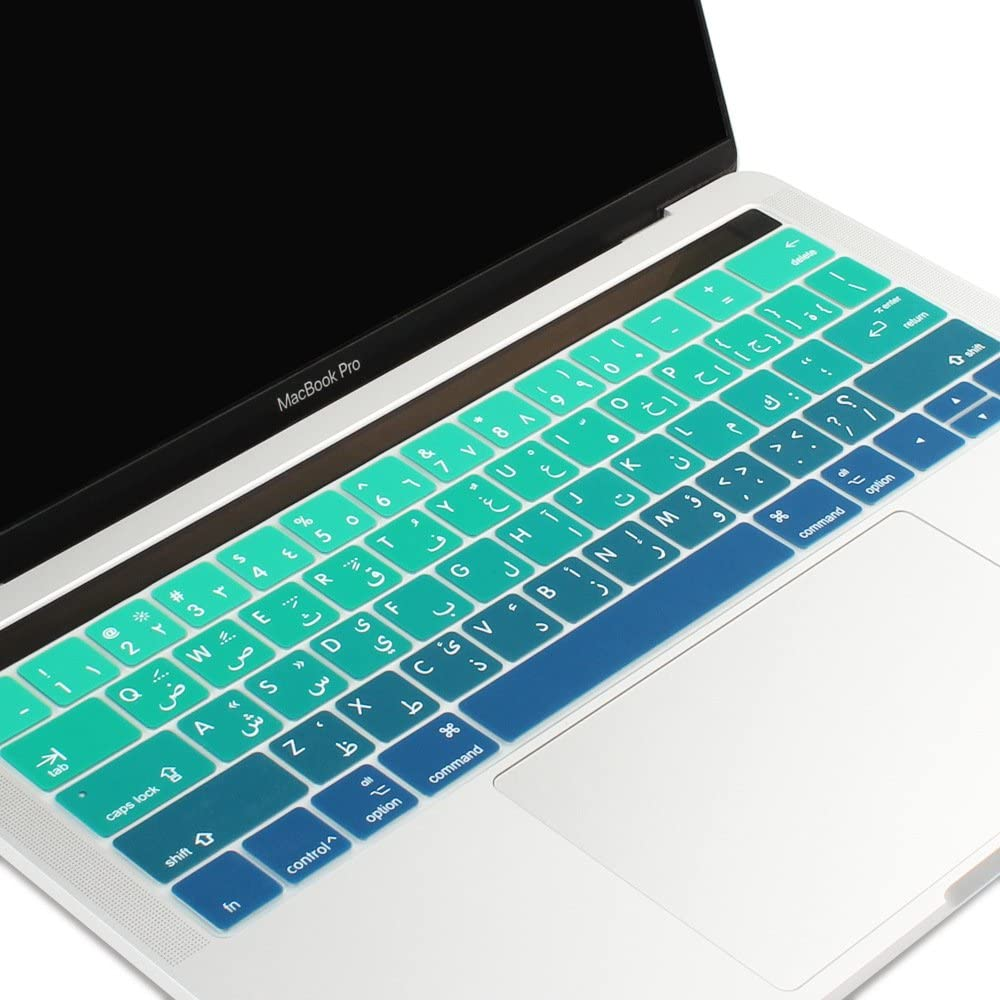 Batianda Arabic Characters Premium Gradient Color Keyboard Cover Protector for New Apple MacBook Pro with Touch Bar 13 inch or 15 inch Model:A1706/A1989 & A1707/A1990 Release 2018 2017 2016 (Green)
