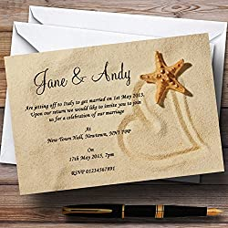 Sandy Beach Romantic Personalized Wedding Invitations