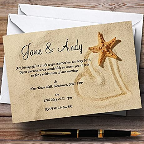 Sandy Beach Romantic Personalized Wedding Invitations