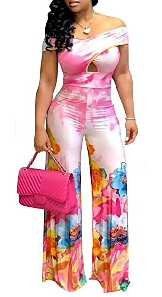 20a91d9fd5aa1 Amazon.com  lovever Women Summer Sexy Floral Print Off Shoulder Short  Sleeve One-Piece Bodycon Jumpsuits Elegant Romper Plus Size  Clothing