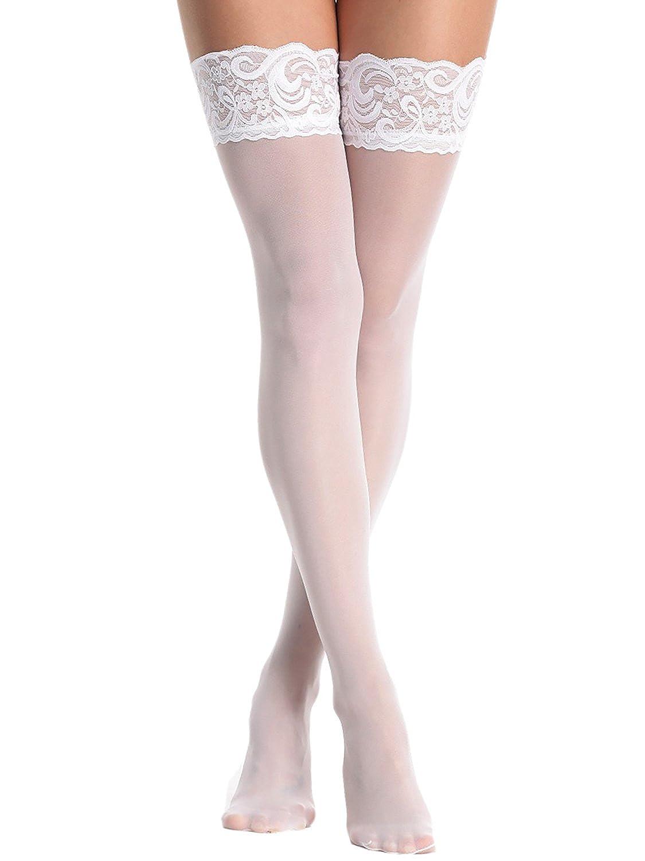Beige e Marrone Chiaro Bianco /Disponibile in Nero Annes 40/Denari Sheer Lace Top Autoreggenti/