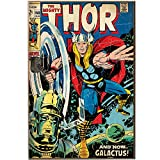 Silver Buffalo MV2736 Marvel The Mighty Thor and Galactus Wood Wall Art Plaque, 13 x 19 inches