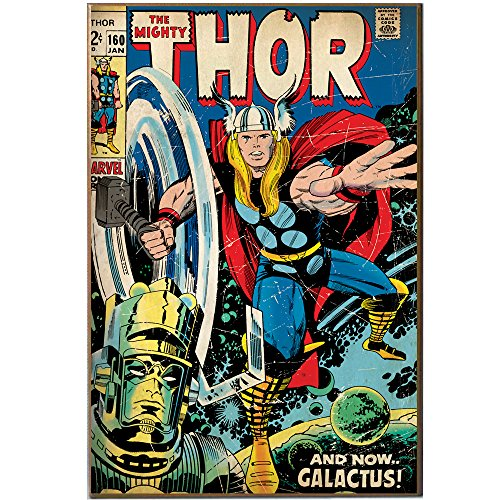 Marvel Silver Buffalo MV2736 The Mighty Thor and Galactus Wood Wall Art Plaque, 13 x 19 inches