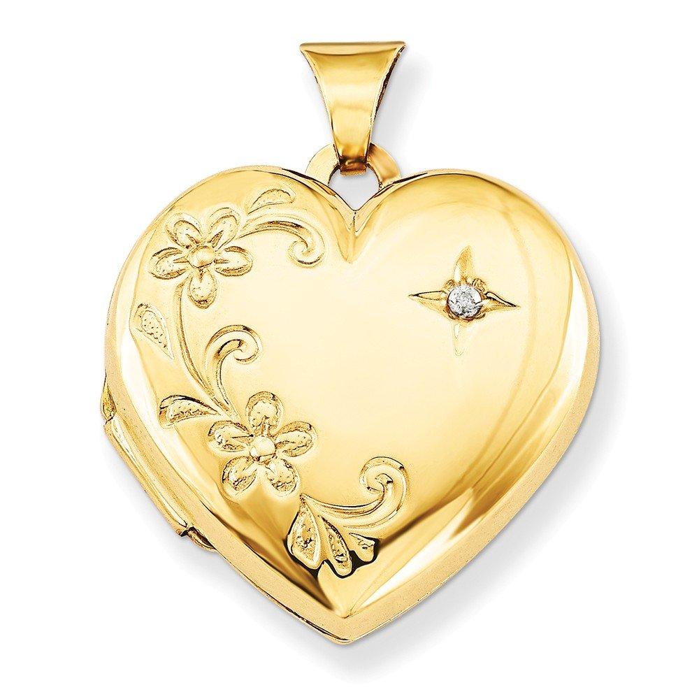 14k Yellow Gold Polished Holds 4 photos Diamond Family Heart Locket