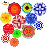 Fiesta Colorful Paper Fans Lantern Round Wheel Disc Design for Party,Event,Wedding Birthday Carnival Home Decorations (Set of 12)