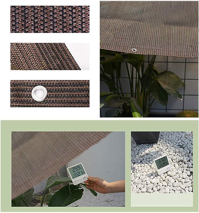 SUNDUXY Toldo Vela de Sombra Rectangular Toldos para Patio, HDPE Resistente Intemperie protección Rayos UV Impermeable Envoltura Bordes diseño Perforaciones (marrón),1x2m: Amazon.es: Hogar
