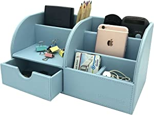 UnionBasic Office Desk Organizer - Multifunctional PU Leather Desktop Storage Box - Business Card/Pen/Pencil/Mobile Phone/Stationery Holder (Blue)