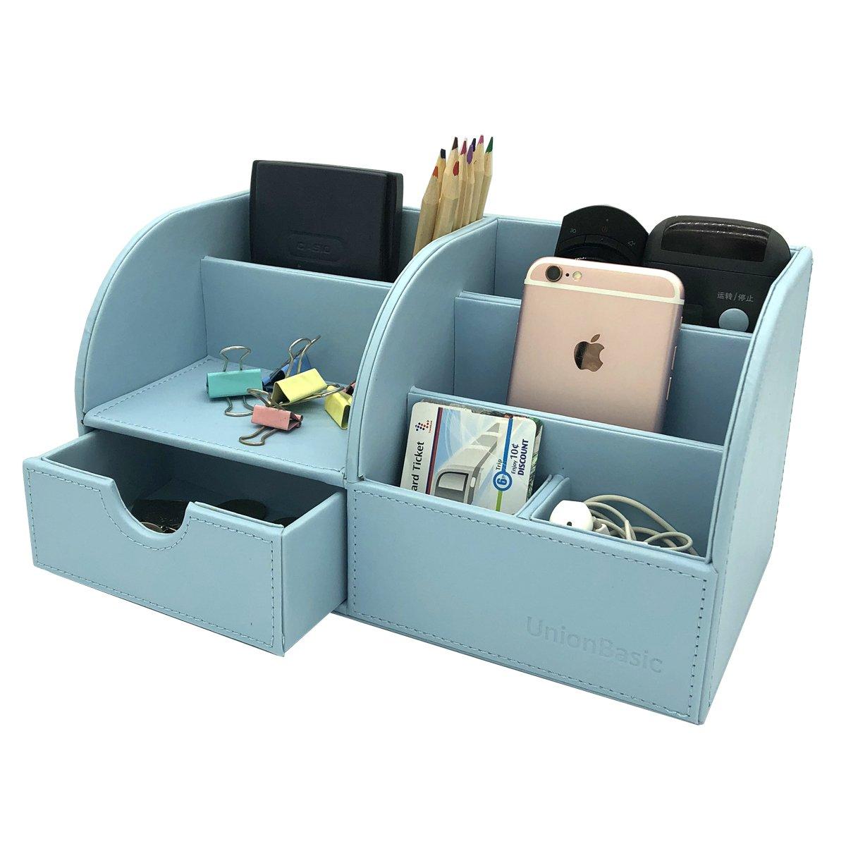 UnionBasic Office Desk Organizer - Multifunctional PU Leather Desktop Storage Box - Business Card/Pen/Pencil/Mobile Phone/Stationery Holder (Blue)