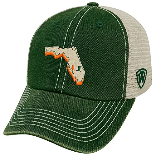 Hat Miami Top - Top of the World NCAA Miami Hurricanes Men's Elite Fan Shop Off Road Mesh Back Hat, Dark Green