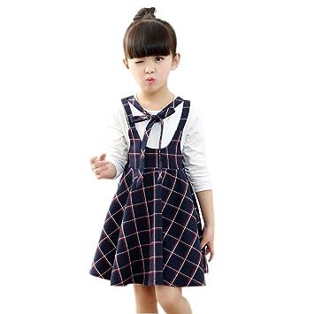 df85420ec7fff YUEGUANG 子供服 女の子フォーマルドレス チェック柄 韓国風 女の子 ワンピ ドレス ブラックワンピ+