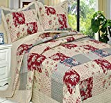Extra Wide King Size Comforters Quilt Coverlet Set 3 Piece Oversize King/California King Size French Country Rustic Flowers Floral Printed Patchwork Pattern Reversible Lightweight Hypoallergenic Bedding