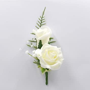 Artificial Wedding Bouquets.Artificial Wedding Flowers Hand Made By Petals Polly Double Foam Rose Buttonhole In Ivory