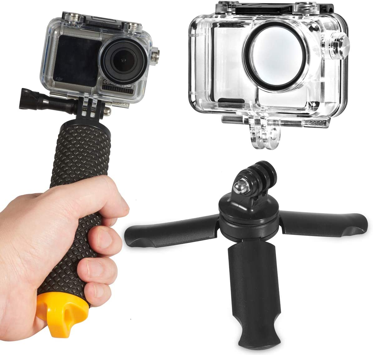 Aboom Diving Accessories Set of 4 for DJI Osmo Action, 147ft Underwater Photography Waterproof Case Cage/Floating Hand Grip/Mini Tripod/Anti Fog Inserts for Diving