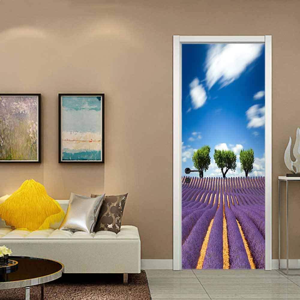 Purple Lavender Blue Sky Landscape 80X200CM 3d Pegatinas de puerta ...