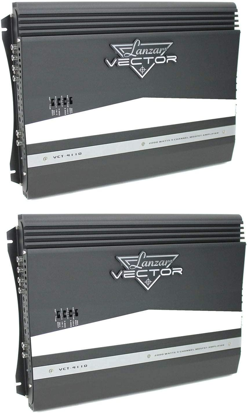 2 Pack LANZAR VCT4110 2000W 4-Channel High Power MOSFET Car Audio Amp