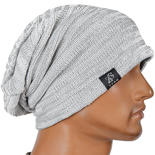 Stylish Unisex Slouchy Crease Knit Beanie Long Hat (Light (Long Beanie Cap)