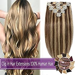 "100% Human Hair Clip in Hair Extensions Highlight 70-120g Long Straight Remy Hair Clip in Extensions 8 Pieces 18 Clips Thick Soft Silky 20"" #4 Medium Brown/#27 Dark Blonde 105g"