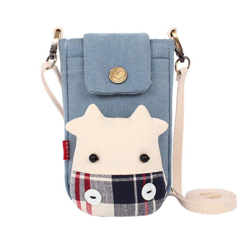 Aibearty Cratoon Cow Canvas Crossbody Bag Wallet Purse Coin Purse Cell Phone Pouch by Aibearty