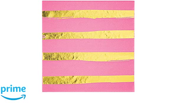 Creative Converting 329952 192-Count 3-Ply Lunch Paper Napkins Touch Of Color Candy Pink Foil