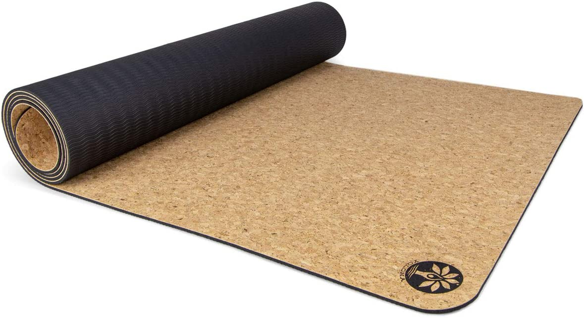Yoloha Cork Yoga Mat Nomad Cork Travel Yoga Mat, Non Slip, Sustainable, Soft, Durable, Foam, Premium, Handmade, Moisture Resistant – 72 x 26 , 4.5 mm Thick