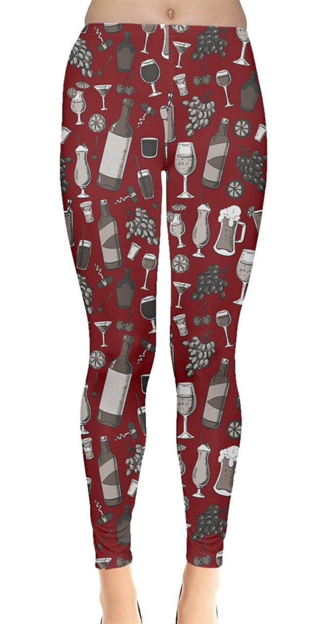 CowCow Womens Red Alcohol Drinks Purple Pattern with Wine Glasses Leggings, Red - L