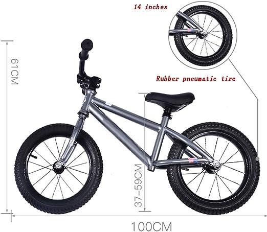 YUMEIGE Bicicletas sin Pedales Bicicleta de Equilibrio para niños Aleación de Aluminio con Manillar Ajustable. Bicicleta Sin Pedales Niños de 2 a 6 años y niños Grises. (Size : 14in): Amazon.es: Jardín
