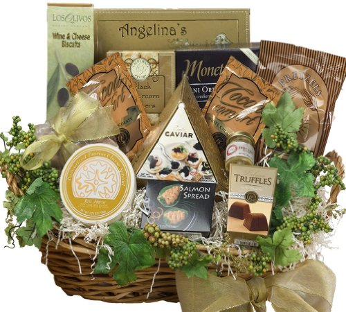 Savory Sophisticated Gourmet Food Gift Basket with Caviar, Large  (Chocolate Option)
