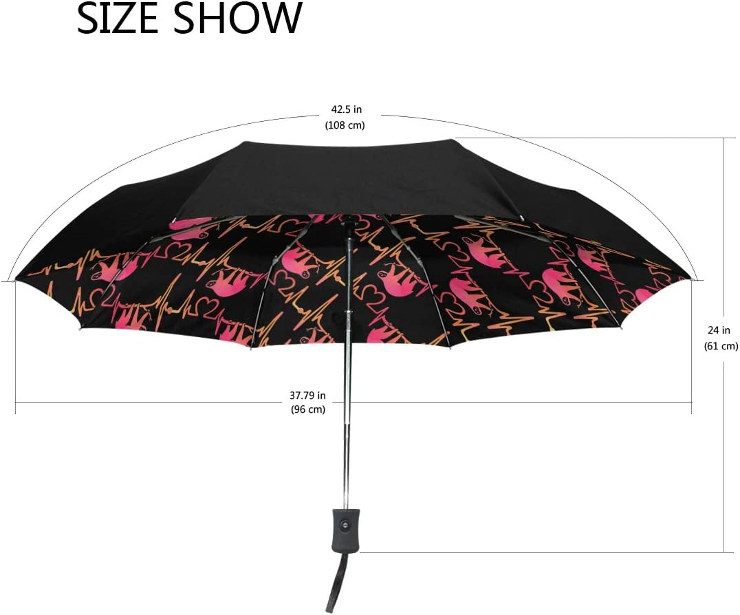 Sloth Heartbeat Lifeline Love Sun/&Rain Automatic Umbrella Windproof Travel UV