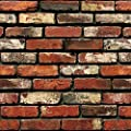 "Brick Peel and Stick Wallpaper - Self Adhesive Wallpaper - Easily Removable Wallpaper - 3D Wallpaper Brick Look – Use as Wall Paper, Contact Paper, or Shelf Paper - 17.71"" Wide x 197"" Long"