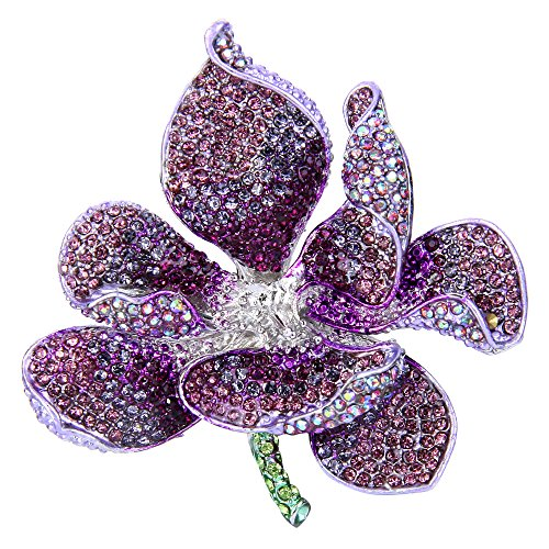 EVER FAITH Women's Austrian Crystal Orchid Flower Petal Brooch Purple - Brooch Purple Womens