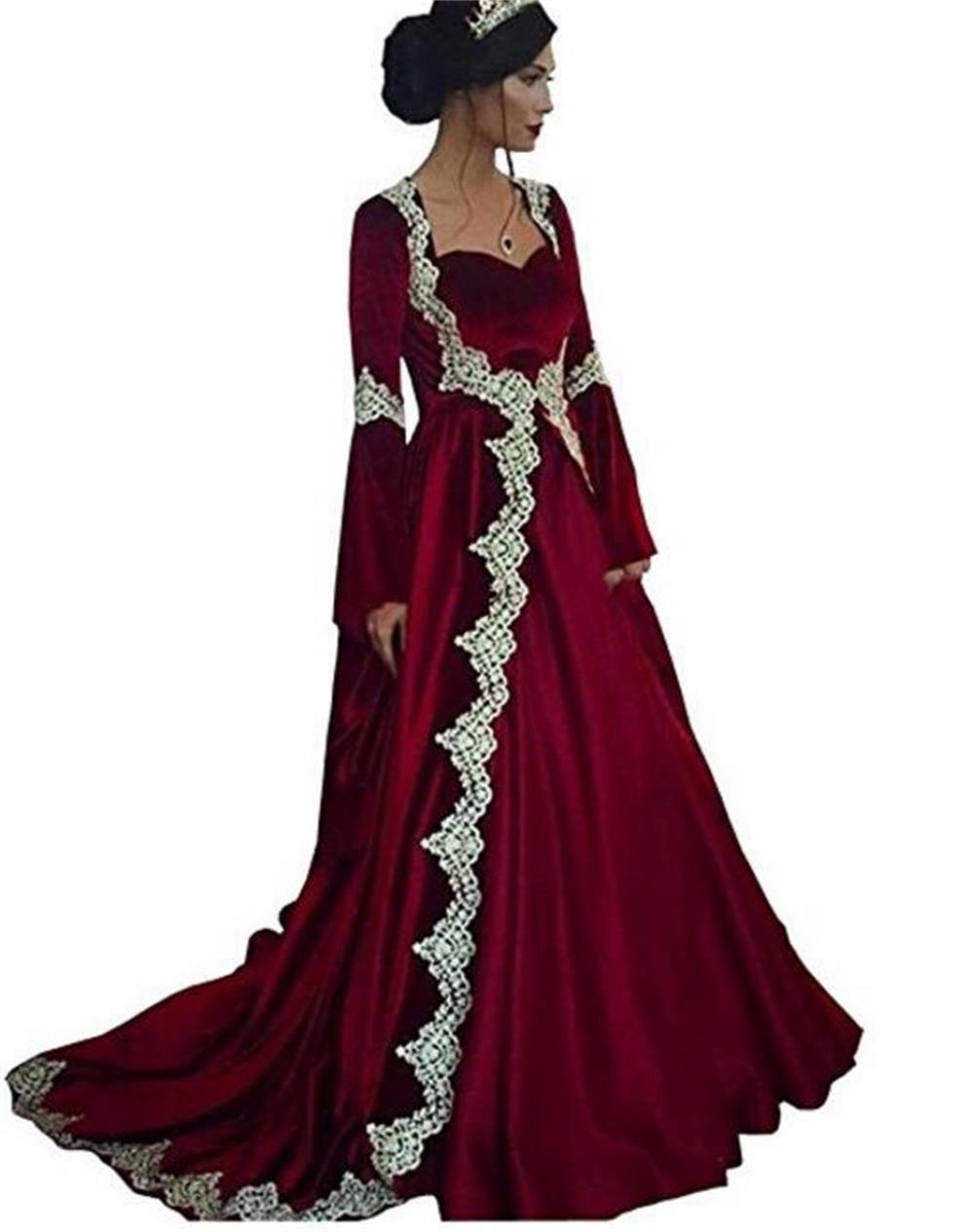 Dydsz Women's Medieval Evening Dresses Formal Gown Long Sleeves 2 Piece With Train D251 Burgundy 20 Plus