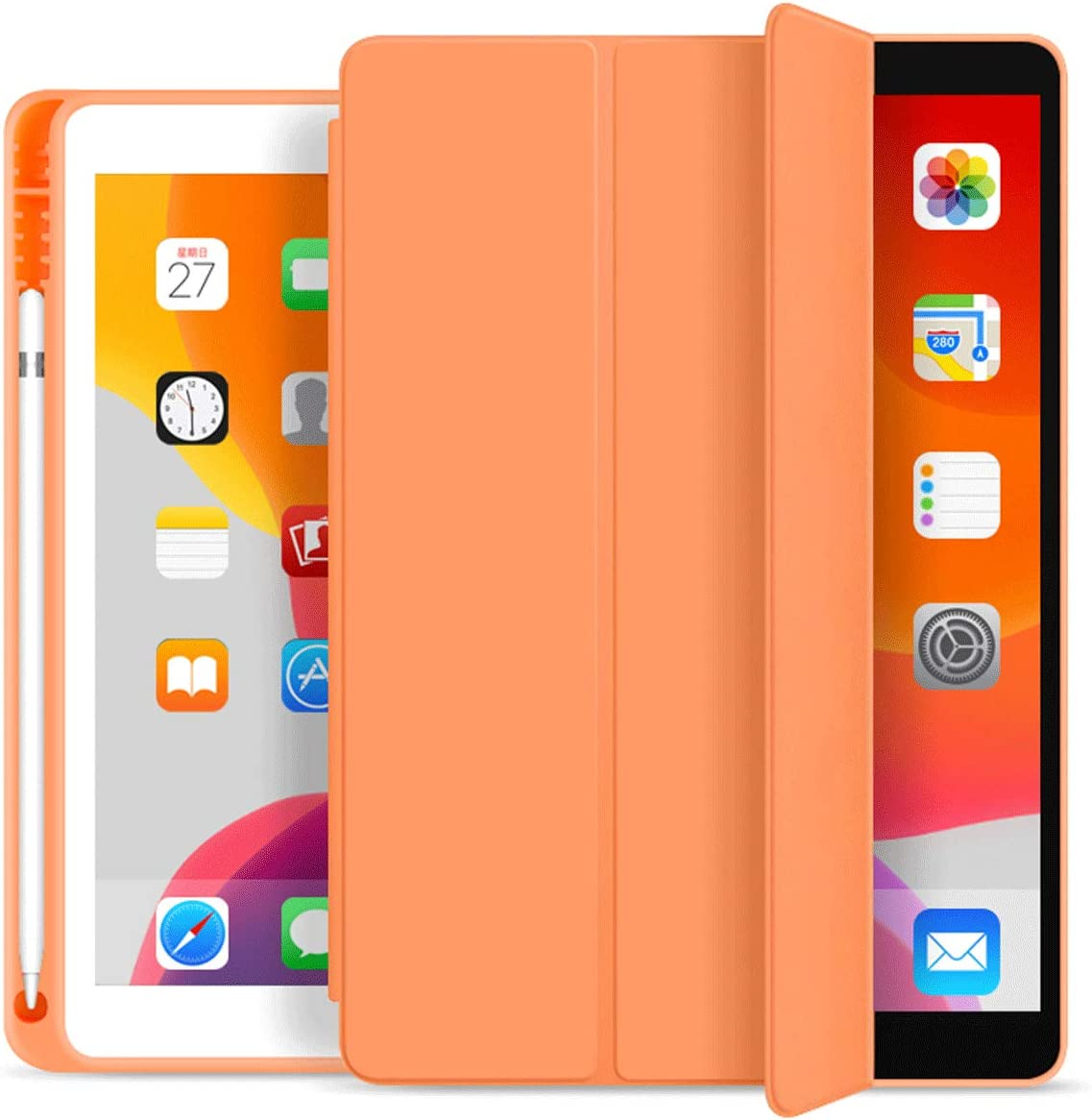 KenKe iPad 7th/8th Gen Case with Pencil Holder,iPad 10.2 inch Lightweight Smart Cover Soft TPU Back,Auto Sleep/Wake for 10.2 New iPad 8th Generation Case 2020 iPad 7th Generation Case 2019 -Orange
