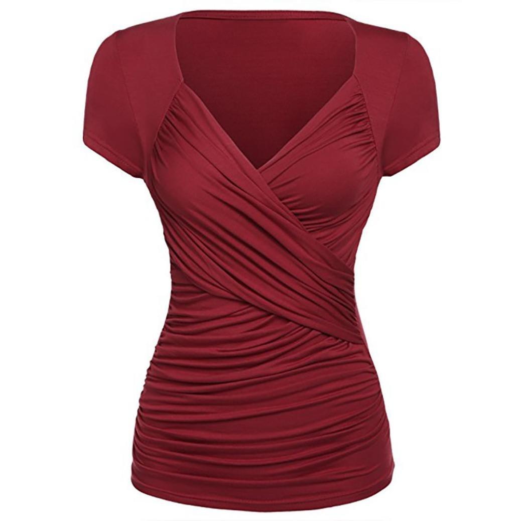 Holeider Tops T Shirt Damen Sommer, Frauen Damen Blusen Pullover Tops Shirt Fashion Kurzarm V-Ausschnitt