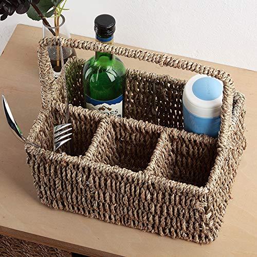 ZZHF xiyilan Storage Basket Straw Snack Storage Basket Separate Basket Cutlery Wine Bottle Holder Tea Ceremony Tube Remote Control Frame Laundry Baskets (Color : ()