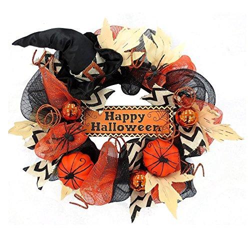 Halloween Wreaths - Happy Halloween Hat Mesh Wreath Halloween Decoration