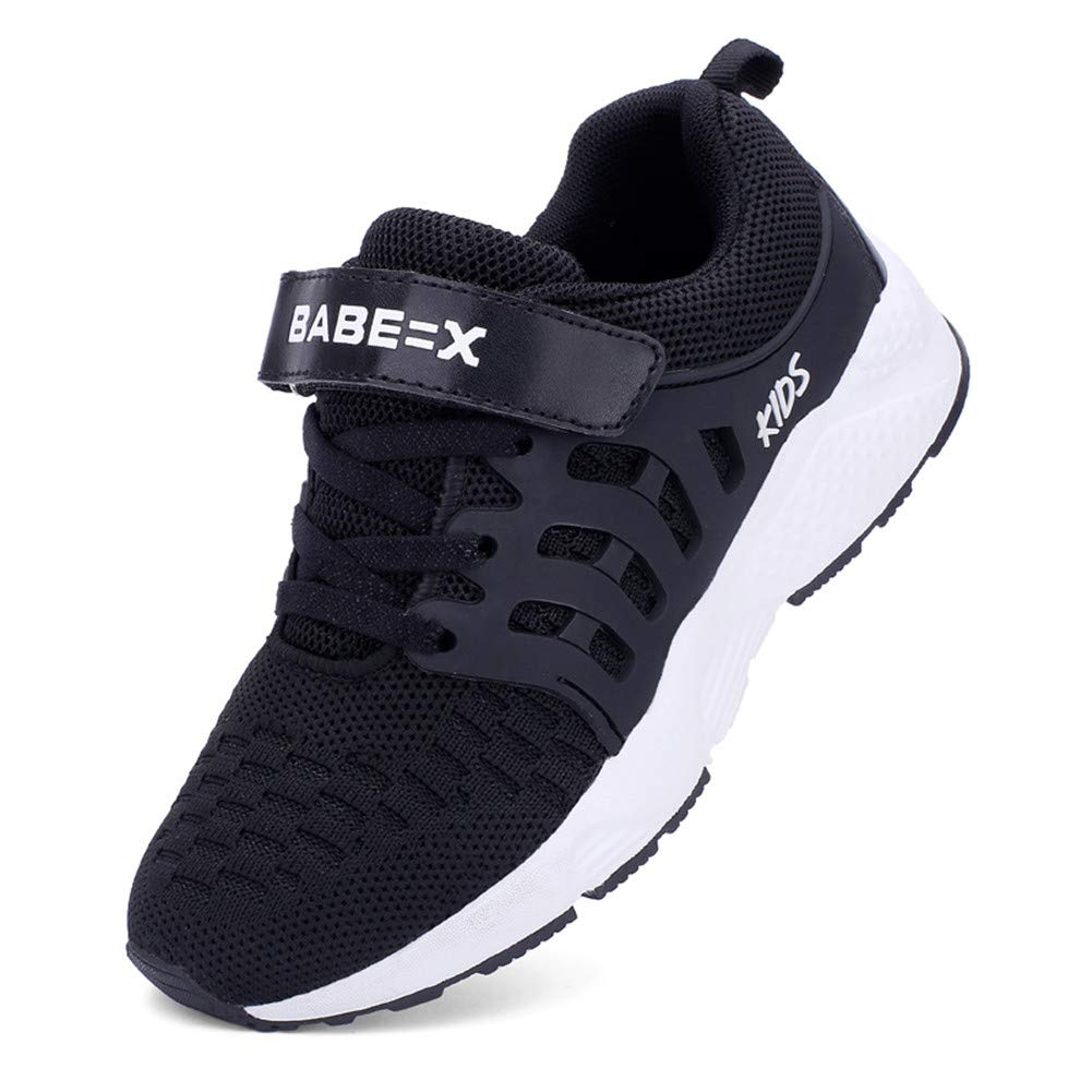 FLORENCE IISA Kids Tennis Shoes Breathable Lightweight Athletic Sports Running Sneakers for Boys & Girls (34, Black1) by FLORENCE IISA (Image #1)