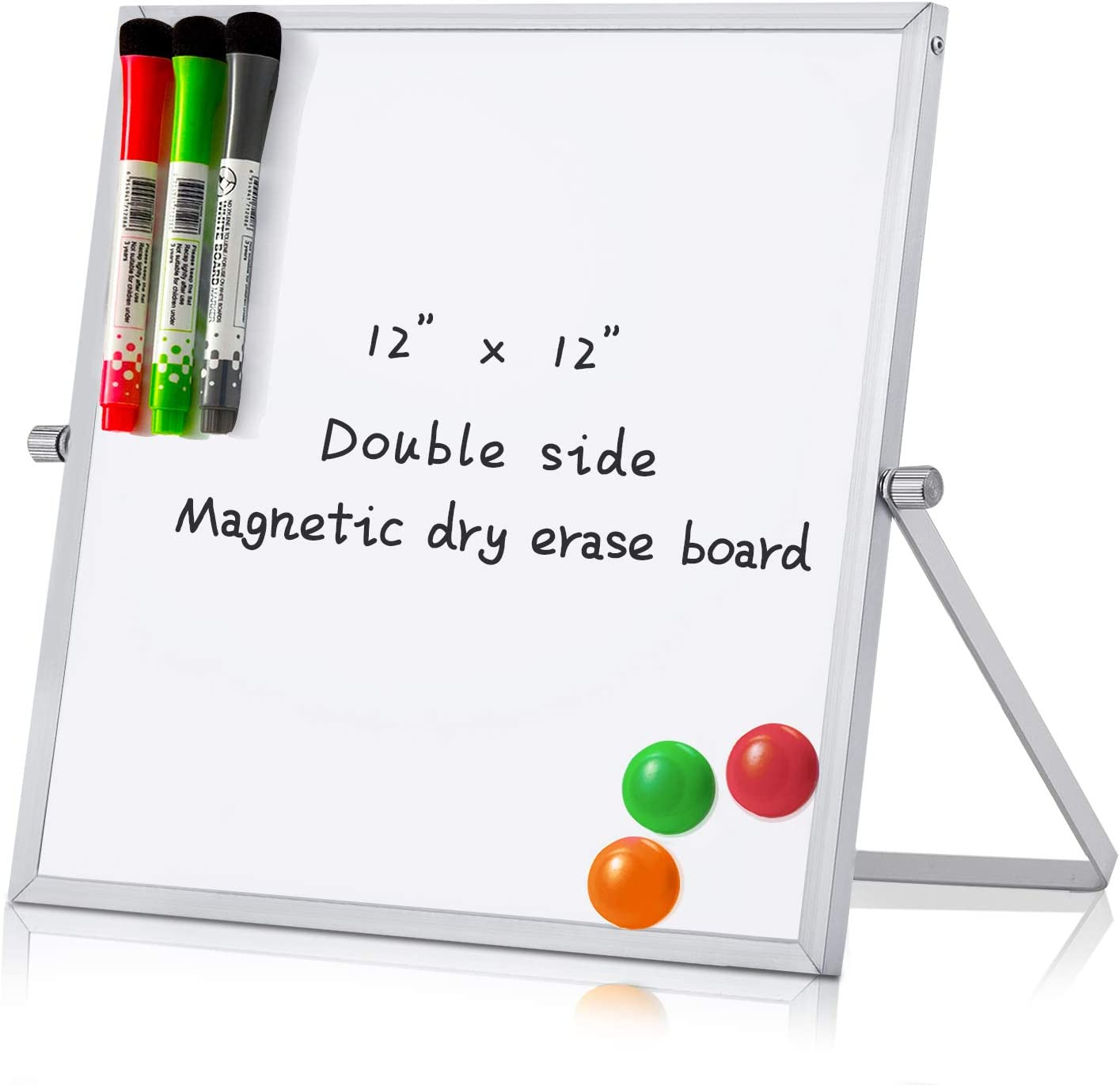 "MerLerner 12"" x 12"" Small Magnetic Dry Erase White Board Mini Portable Dual-Sided Desktop Whiteboard Easel 360°Rotation for Office,Home,School"