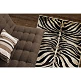 D&H 1'7'' x2'7.5'' Black Ivory Zebra Stripes Printed Area Rug, Indoor Graphical Pattern Living Room Rectangle Carpet, Africa Themed, Soft Synthetic Material, Exotic Jungle Zoo Safari Outback