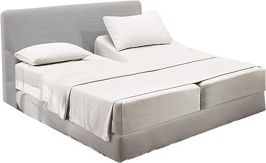Amazon Com Rajlinen White Solid 5 Pcs Adjustable Beds Split King