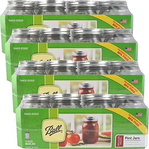 12 Ball Mason Jar with Lid - Regular Mouth - 16 oz (4 Packs of 12) ()
