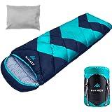 HiHiker Camping Sleeping Bag + Travel Pillow w/Compact Compression Sack – 4 Season Sleeping Bag for Adults & Kids – Lightweig