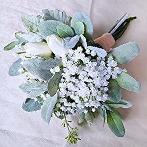 """Supla Pack 2 Baby's Breath Artificial 14 Forks,Total of 882 White Blooms Babys Breath Bulk Flower Bush Gypsophila Artificial in White -15.7"""" Tall for Wedding Wreath Boutonniere Flower Crown 5"""
